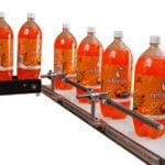 Bottling line with on a Mini-Mover Lite and LP Series small conveyors